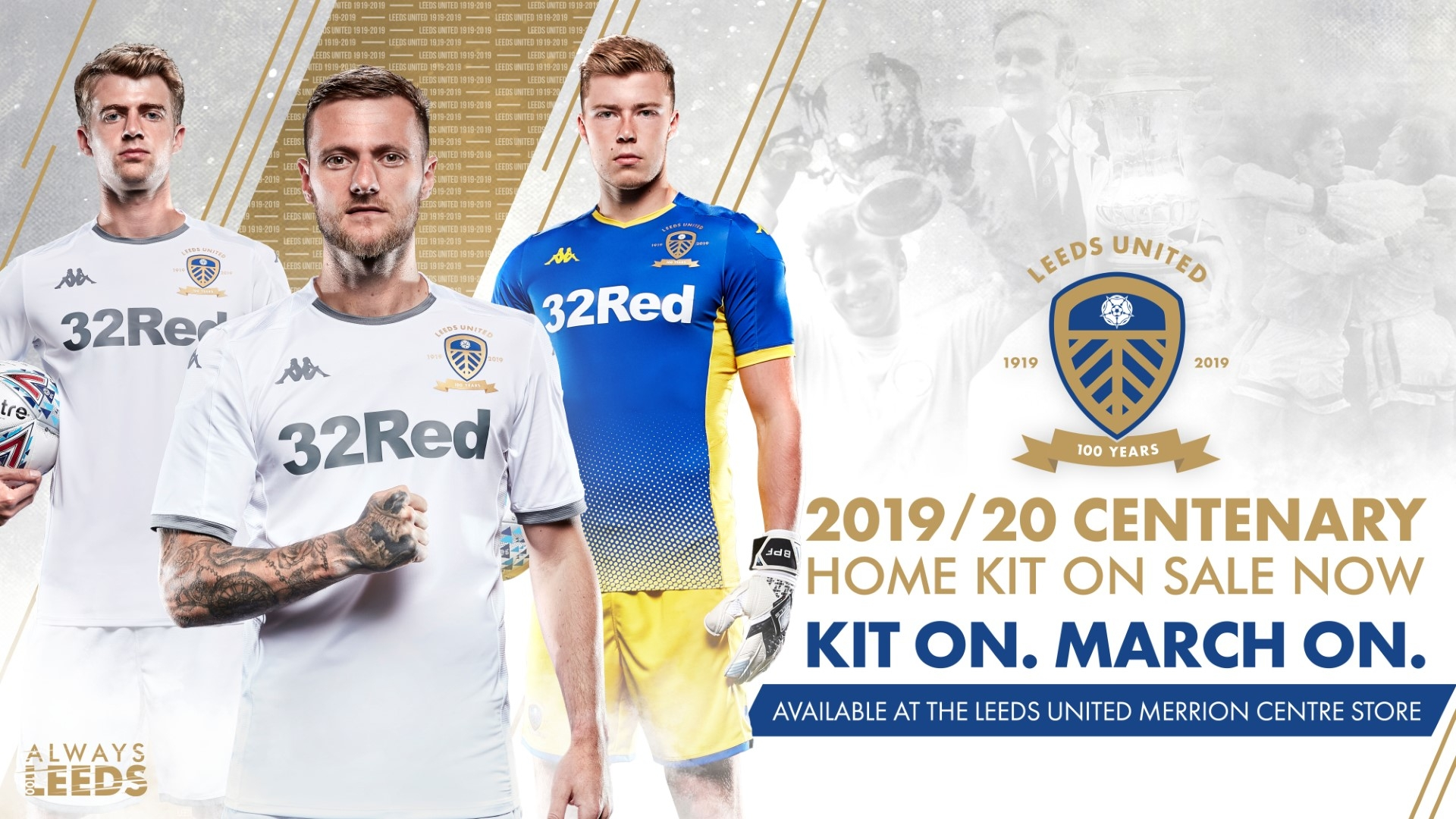 Lufc 2019 20 Centenary Home Kit Launched At The Merrion Centre Merrion Centre