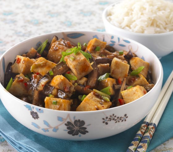 Sichuan-style Aubergine with Tofu