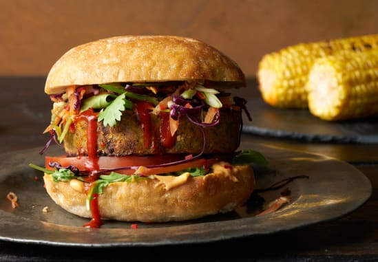 Spicy BBQ Falafel Burger with Chilli Slaw