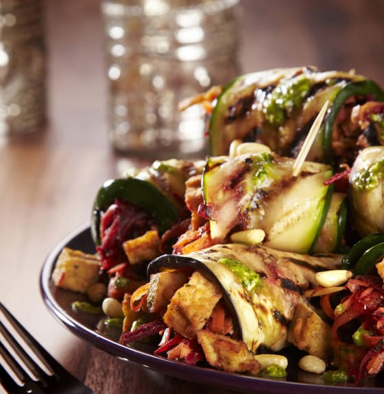 Chargrilled Vegetable Paupiette with Marinated Tofu, Beetroot & Pistou