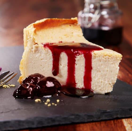 Baked Tofu Cheesecake with Hibiscus & Black Cherries
