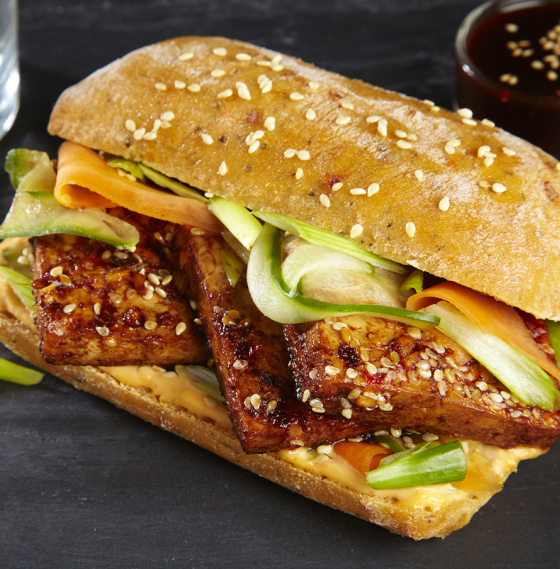 Ginger and sesame tofu in Banh Mi