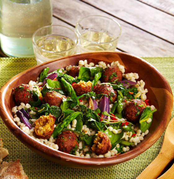 Moroccan Falafels with Spring Pearl Barley Greens
