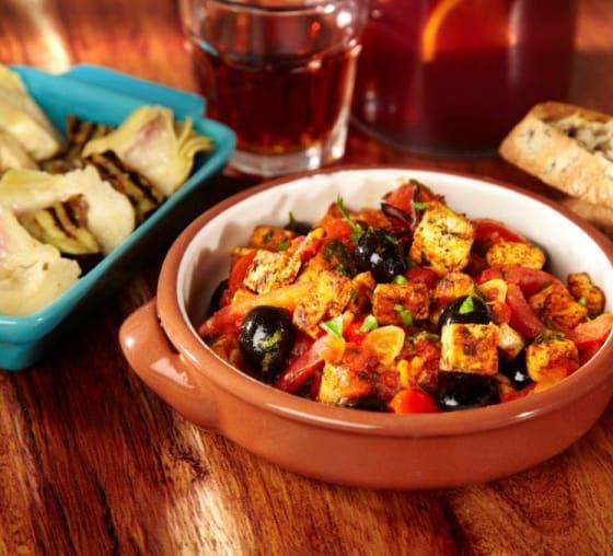 Tofu and olive tapas