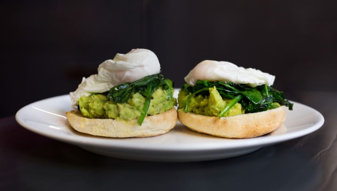 Avocado, poached egg and spinach breakfast recipe, created for Roomzzz, by MasterChef's Chris Hale.