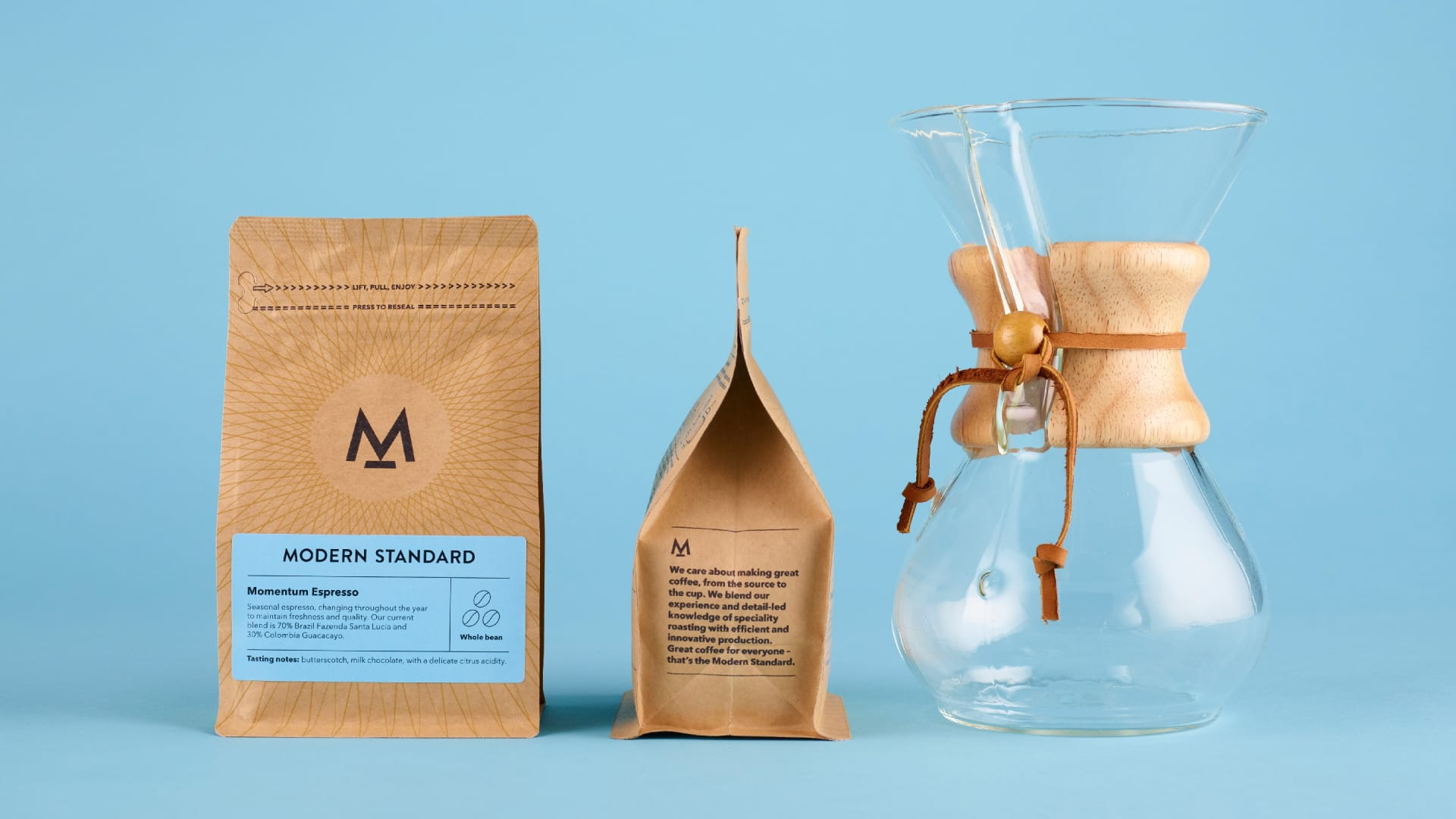 Modern Standard coffee brand packaging and story