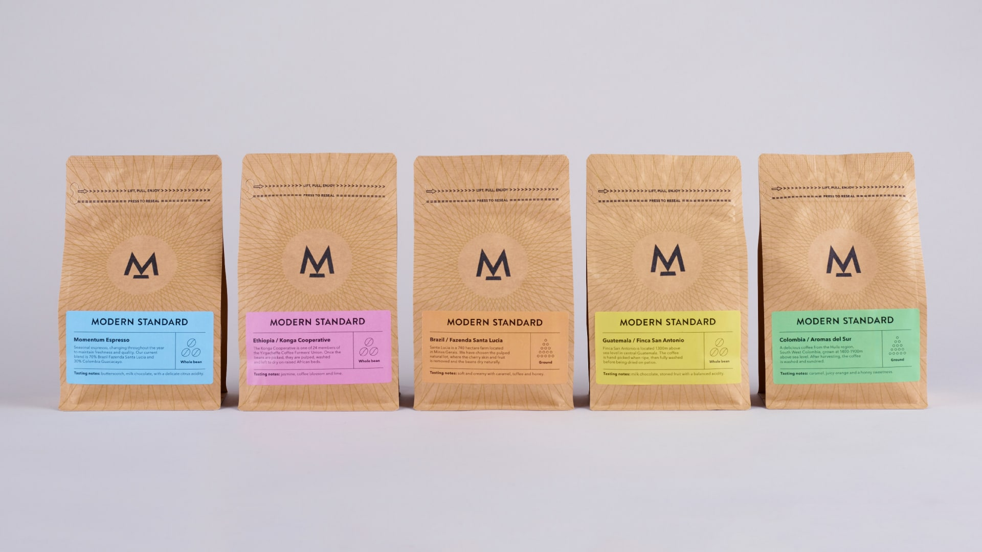 Modern Standard coffee packaging range