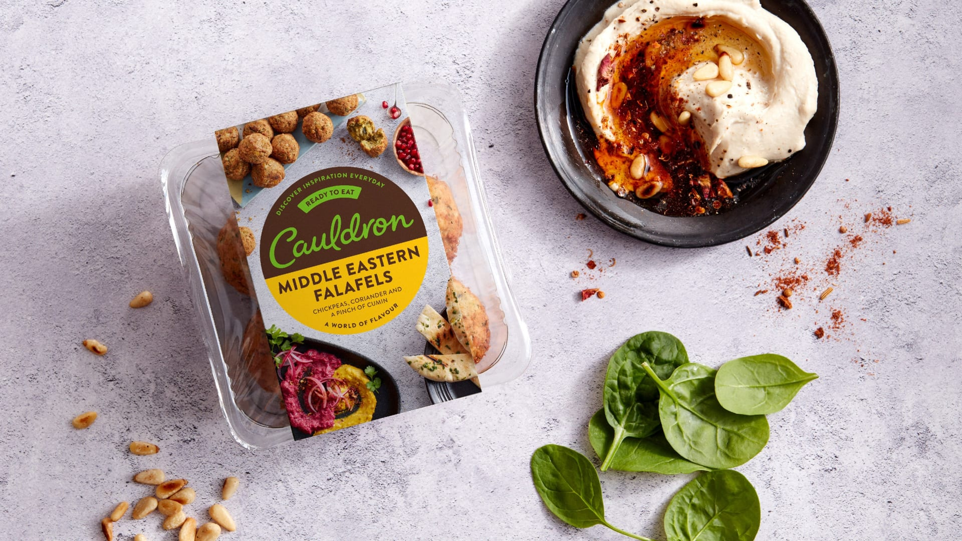 Cauldron falafels brand packaging