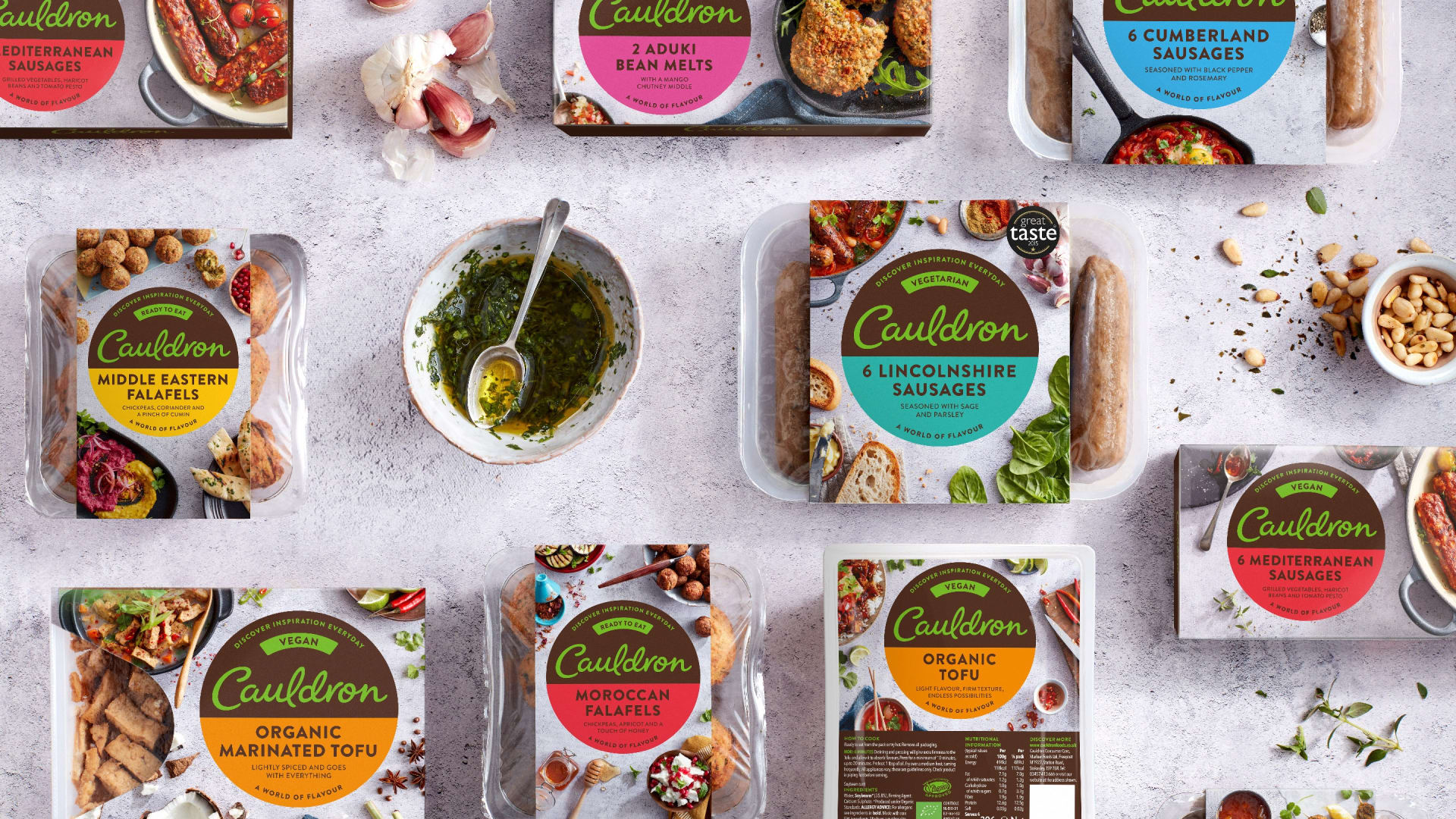 Cauldron brand identity packaging range
