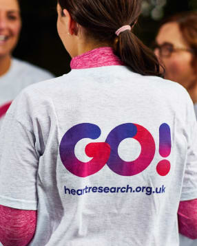Heart Research UK brand identity t-shirt