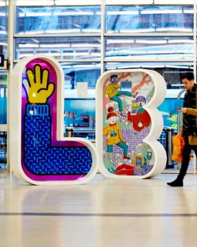 Leeds train station letter art installation