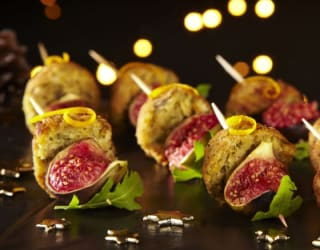 Falafel and Fig Skewers with Citrus Dressing