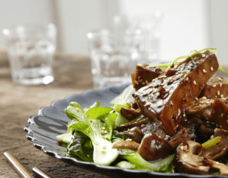 Vegan Sticky Tofu With Shiitake Mushrooms & Spring Onions