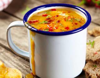 Vegan tofu & root vegetable soup