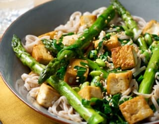 Soba Linguine with Tofu and Spring Greens