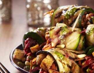 Chargrilled Vegetable Paupiette with Marinated Tofu, Beetroot and Pistou