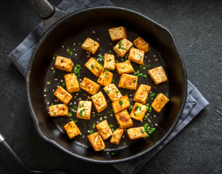 tofu pan-fried to add crispy texture