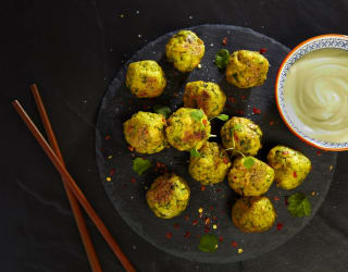 tofu balls presented