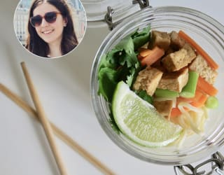 Besma prepares her tofu