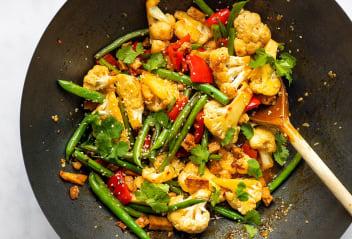 Marinated Tofu Pieces and Cauliflower Stir Fry