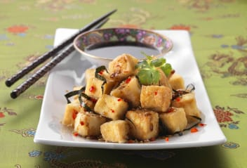 Fried Tofu in Chinese Sesame Soy Sauce