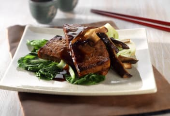 Roasted Teryaki Tofu Steaks with Glazed Pak Choi