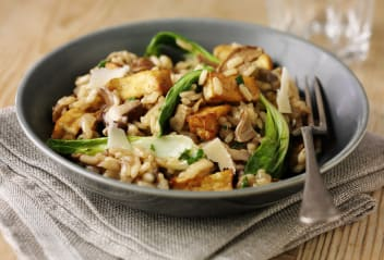 Tofu, Porcini and Pak Choi Risotto