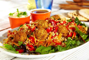 Falafel salad with chermoula and hummus