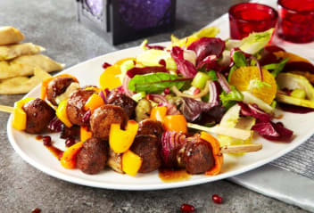 Falafel kebabs with orange & beetroot salad
