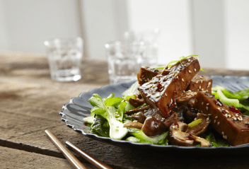 Sticky Tofu with shitake mushrooms and spring onions