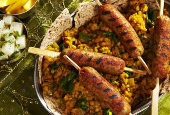 Indian Spiced Sausage with Lentil Dhal & Kashmir Potato Salad