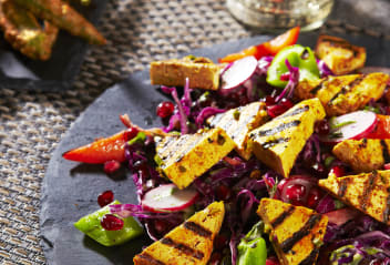 Tandoori Tofu with Okra Fries & Delhi Slaw