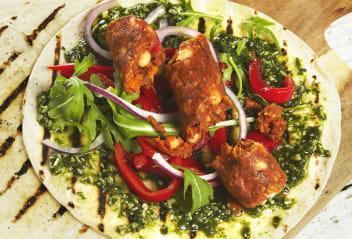 Vegan Sausage Wrap with Basil Pesto & Red Peppers