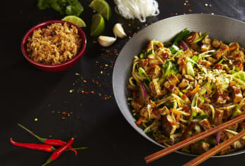 Chinese New Year Noodles with Marinated Tofu Pieces
