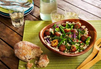 Moroccan Falafels with Spring Pearl Barley Greens