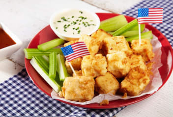USA Spicy Buffalo Tofu Bites with Blue Cheese Dip