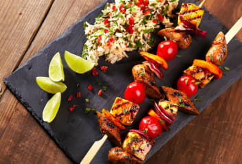 Cumberland Jerk Skewers with Coconut Rice