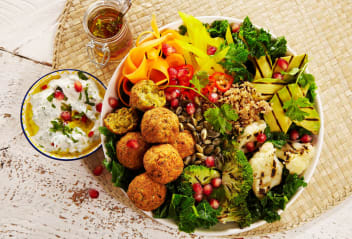 Falafel Grain Bowls with Yogurt Dip