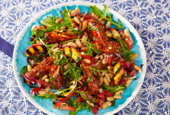 Portuguese-Style Salad with Baked Peach & Vegan Sausages