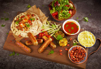 Mexican Tacos with Yellow Mole & Vegetarian Sausages