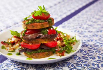 Farro Salad with Falafel Burger, Smoked Tomatoes & Chimichurri