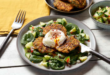 Carrot, Coriander & Falafel Fritters with Cucumber Salad & Poached Eggs