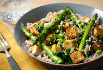 Soba Linguine with Tofu & Spring Greens
