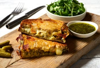 Falafel, Cheese & Pesto Toastie
