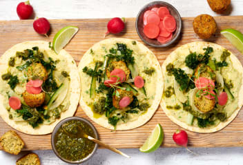 Soft Falafel Tacos with Salsa Verde & White Bean Dip