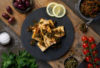 Tofu with Preserved Lemon & Olive Tapenade