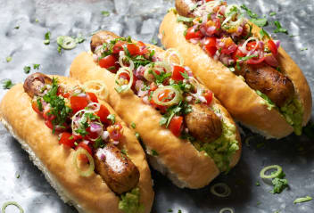 Loaded South American Hot Dogs with Tomato Salsa
