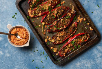 Falafel Stuffed Peppers With Muhamarra Sauce