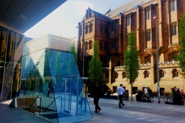 The glass entrance to Australasia at Spinningfields