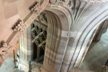 The inside of John Rylands Library and its ornate stone work